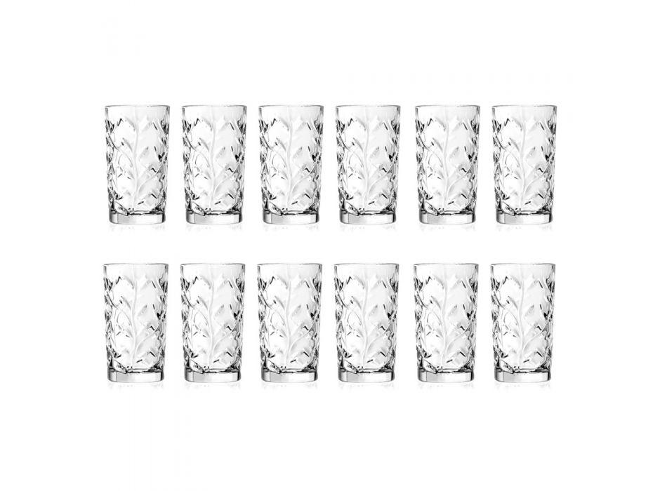 Bicchieri Tumbler Alti in Eco Cristallo Decoro a Foglia 12 Pz - Magnolio