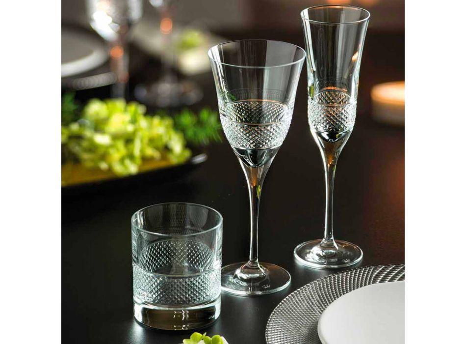 Bicchieri Tumbler Bassi in Eco Cristallo con Decoro di Lusso 12 Pezzi - Milito