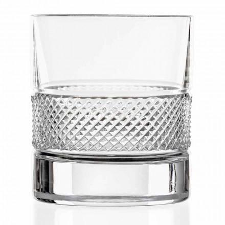 Bicchieri Tumbler Bassi in Eco Cristallo Decorato, 12 Pezzi Linea Lusso - Milito