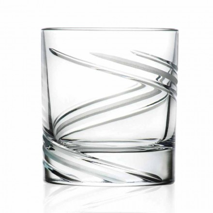 12 Bicchieri Tumbler Bassi in Cristallo Decorato a Mano, Linea Lusso - Ciclone