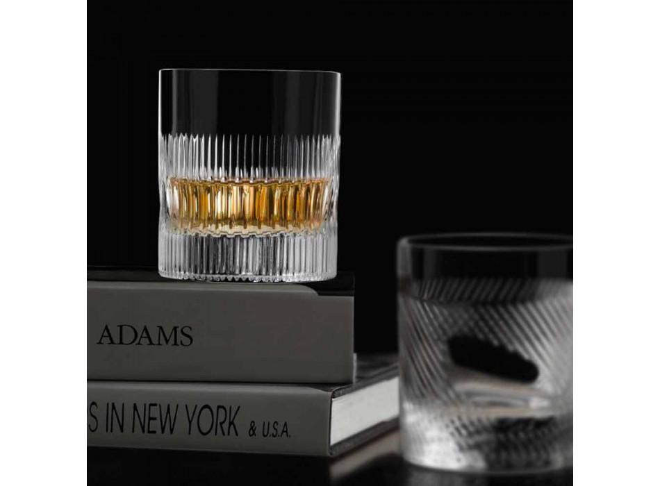 Bicchieri Whisky e Acqua in cristallo Decoro Stile Vintage 12 Pezzi - Tattile