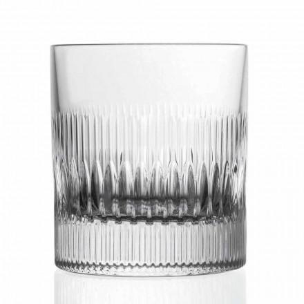 12 Bicchieri da Whisky in Cristallo, Decoro Stile Vintage, Linea Lusso - Tattile
