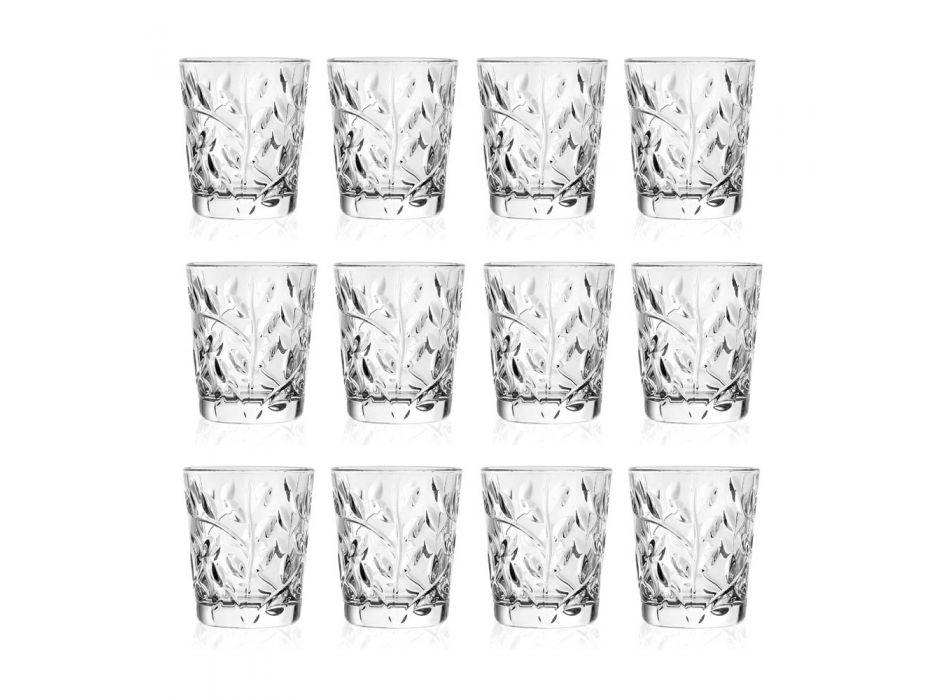 Bicchierini da Liquore in Eco Cristallo Decoro Foglia 12 Pezzi - Magnolio