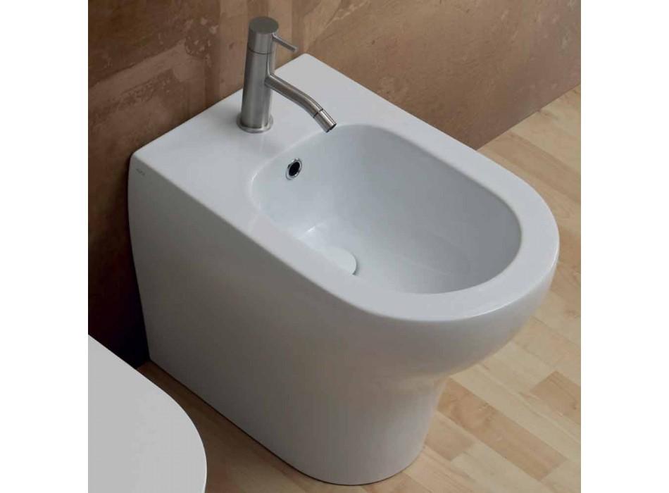 Bidet in ceramica bianca design moderno Star 54x35 cm, fatto in Italia