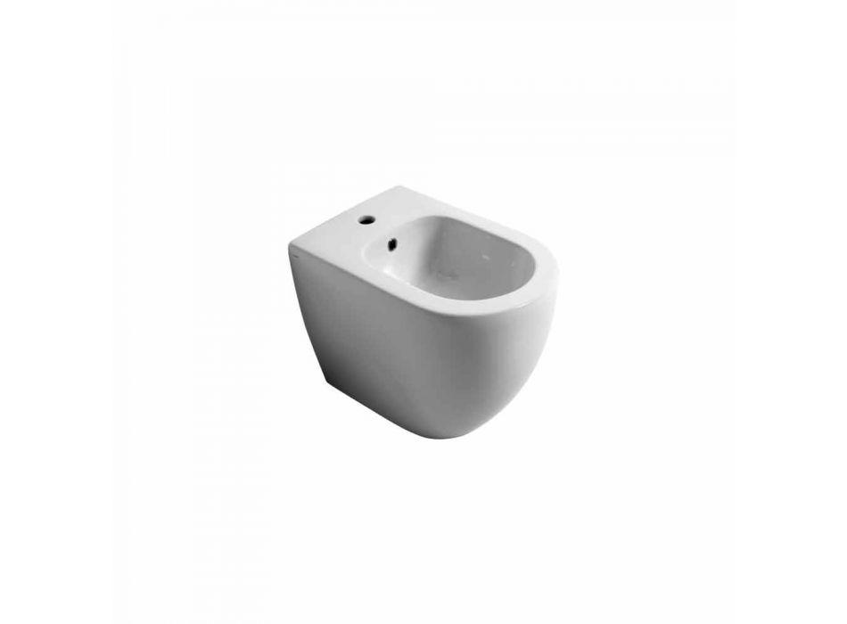 Bidet in ceramica moderno Shine Square Rimless 54x35cm made in Italy