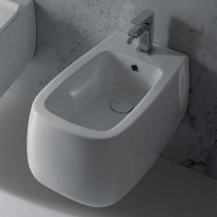 Bidet sospeso di design in ceramica bianco Gaiola, fatto in Italia