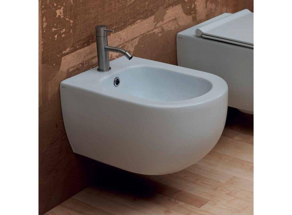 Bidet sospeso in ceramica design moderno Star 55x35cm made in Italy