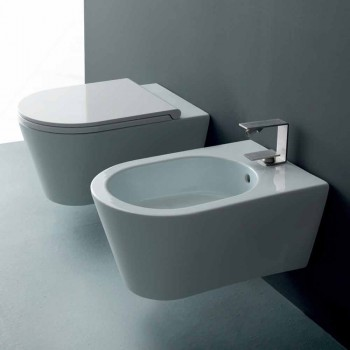 Bidet sospeso in ceramica di design Sun Round 57x37cm, made in Italy