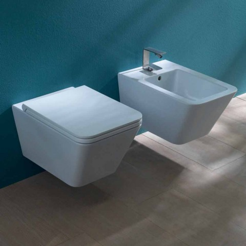 Bidet sospeso in ceramica di design Sun Square 55x35cm, made in Italy