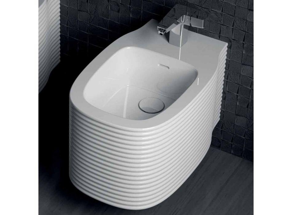 Bidet sospeso in ceramica di moderno design prodotto in Italia, Amleto
