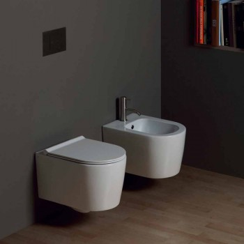 Bidet sospeso in ceramica moderno Shine Square 50x35cm, made in Italy