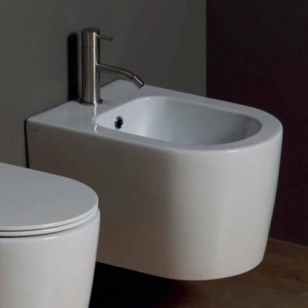 Bidet sospeso in ceramica moderno Shine Square 50x35cm, made in Italy