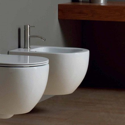 Bidet sospeso moderno in ceramica bianca Star 50x35cm made in Italy
