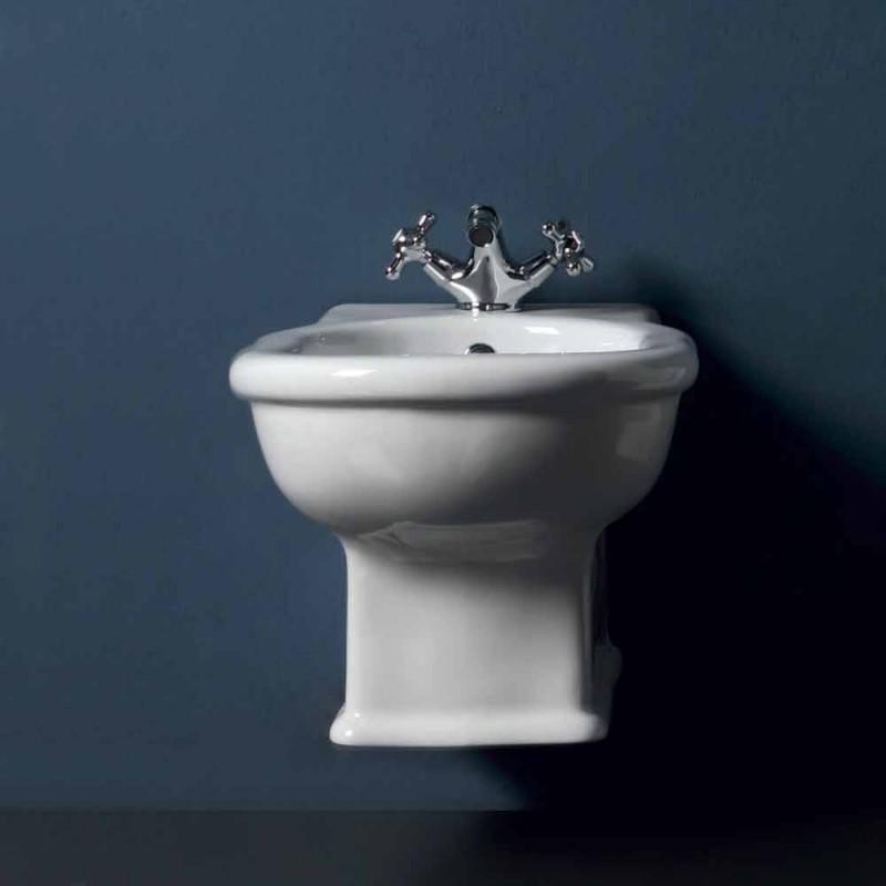 Bidet sospeso moderno in ceramica bianca Style 54x36 cm, made Italy