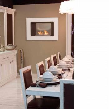 Biocamino A Parete Bianco dal Design Moderno con Inserto in Vetro Erica