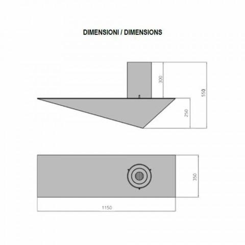 Biocamino da Parete di Design Moderno in Acciaio Verniciato e Vetro - Malcolm