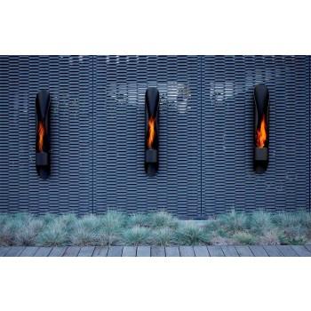 Biocamino da Parete di Design Tubolare e Moderno in Acciaio Nero - Jackson