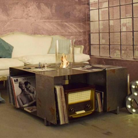 Biocamino da Terra e Tavolino da Salotto Design Moderno in Acciaio - Christopher