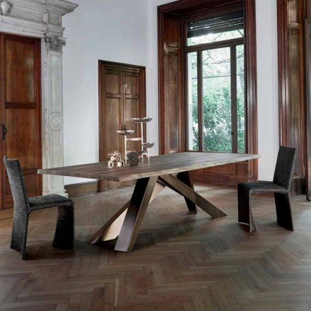 Bonaldo Big Table tavolo in legno massello bordi naturali made Italy
