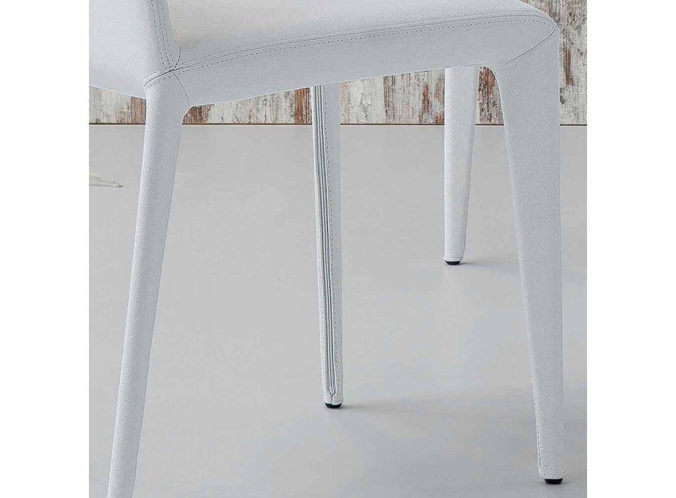 Bonaldo Filly sedia imbottita di design in pelle bianco made in Italy