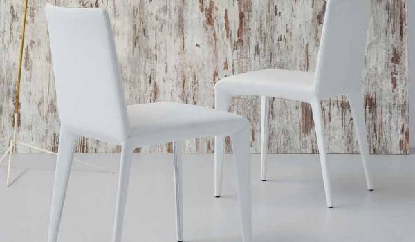 Sedia Imbottita Design : Bonaldo filly sedia imbottita di design in pelle bianco made in italy