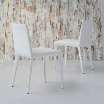 Bonaldo Filly sedia imbottita di design in pelle bianco made in Italy