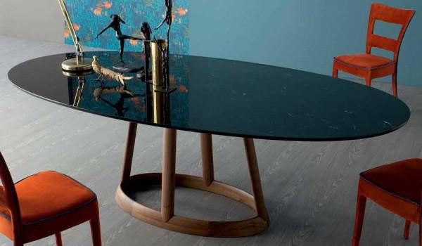 Bonaldo greeny tavolo ovale di design in marmo marquinia made in italy