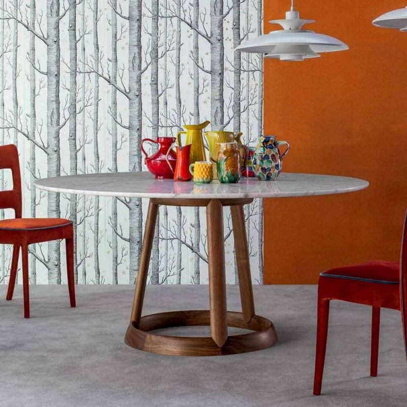Bonaldo Greeny tavolo tondo piano marmo Calacatta di design made Italy
