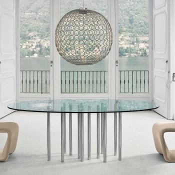 Bonaldo Mille tavolo tondo in cristallo e acciaio cromato made Italy