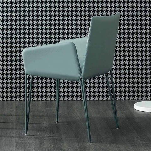 Bonaldo Miss Filly sedia imbottita in pelle con braccioli made Italy