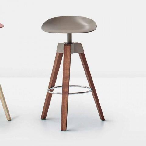 Bonaldo Plumage sgabello girevole in acciaio e legno made in Italy