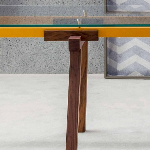Bonaldo Tracks tavolo design allungabile cristallo e legno made Italy