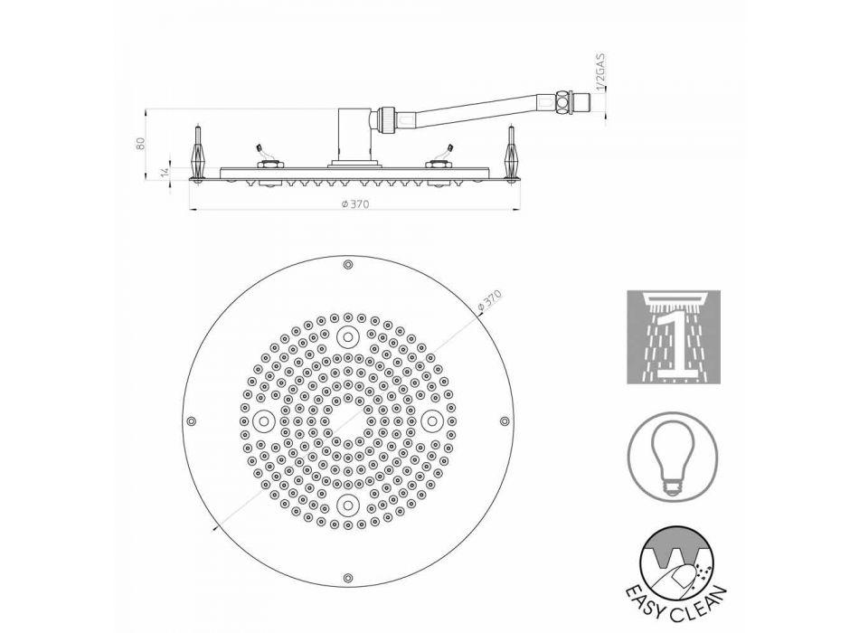 Bossini soffione tondo moderno a un getto con luci LED