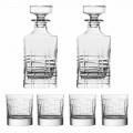 Bottiglia e Bicchieri per Whisky in Cristallo Eco, 6 Pezzi Linea Lusso - Aritmia