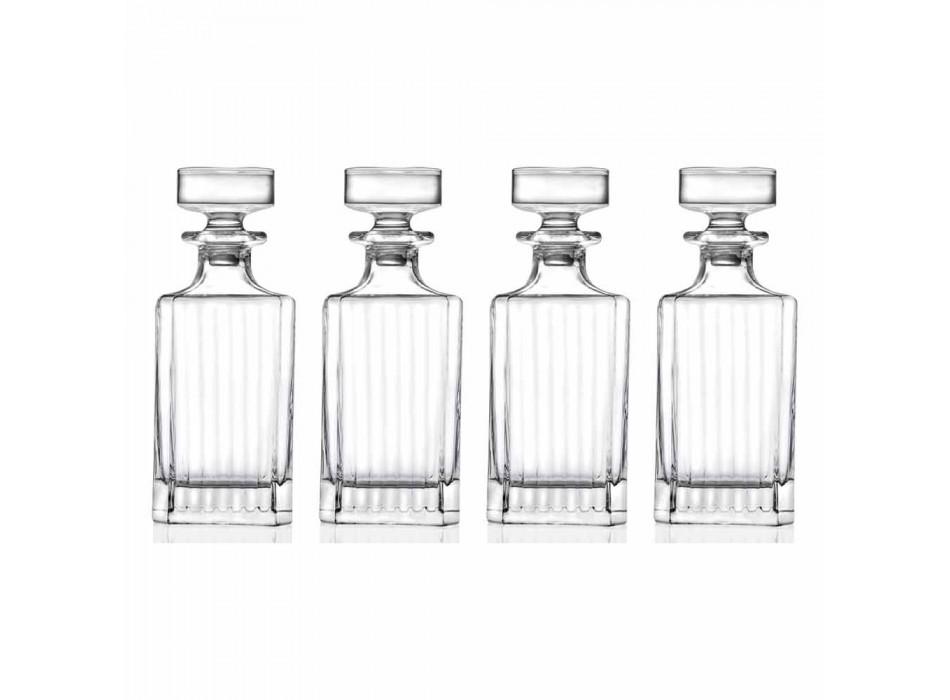 Bottiglie da Whisky in Cristallo Eco di Design Squadrato 4 Pezzi - Senzatempo