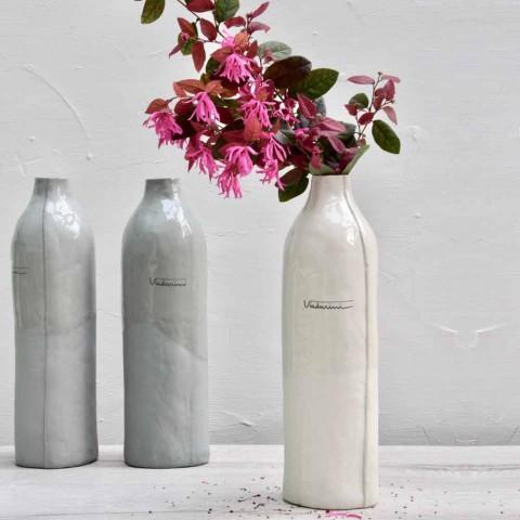 Bottiglie in Porcellana Bianca e Grigia Design di Lusso 2 Pezzi Unici - Arcivero