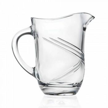 Brocca Caraffa da Acqua di Cristallo Ecologico Decorato a Mano 2 Pezzi - Ciclone