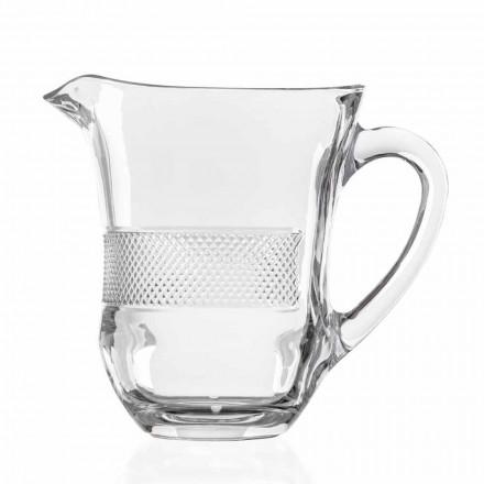 Brocca per Acqua Bevande in Cristallo Eco Decorato, 2 Pezzi Linea Lusso - Milito