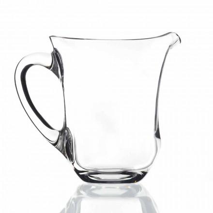 Brocca per Acqua in Cristallo Italiano di Design, 2 Pz Linea Lusso - Lisciato