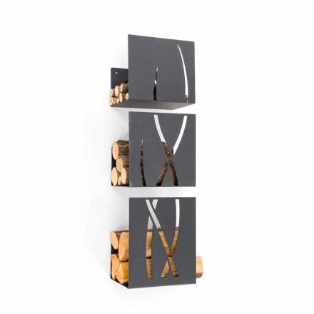 Portalegna da Muro Design Moderno Decorato in Acciaio Nero 3 Pezzi - Garigliano