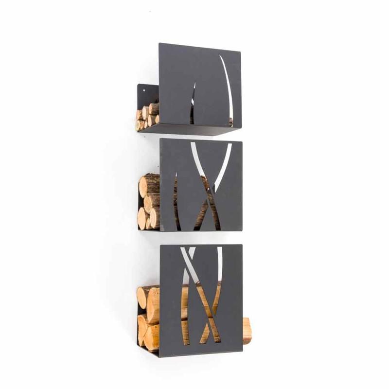 Caf Design Trio portalegna da muro in acciaio made in Italy