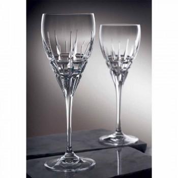 Calice da Vino Bianco in Cristallo con Intagli Manuali 12 Pezzi - Fiucco