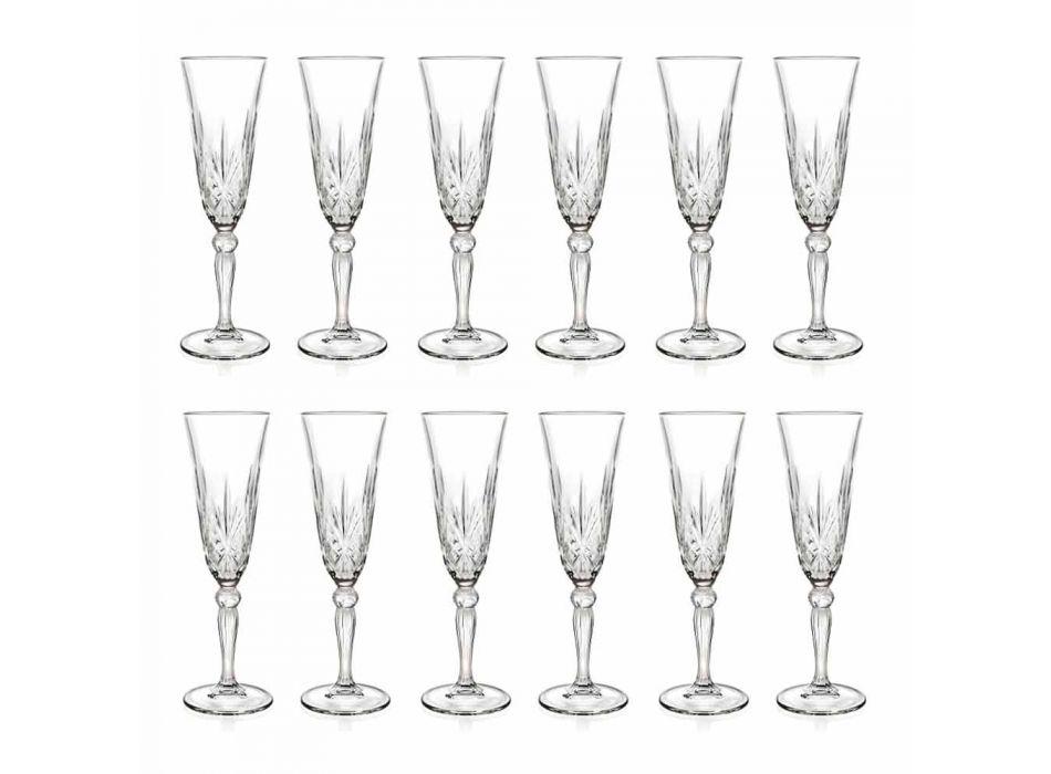 Calice Flute Bicchiere in Cristallo Ecologico per Champagne 12 Pezzi - Cantabile