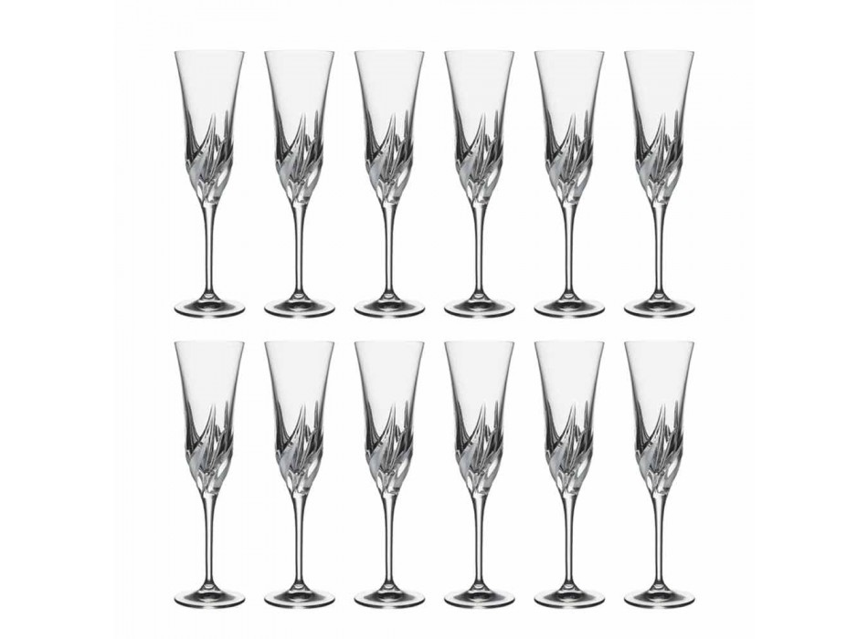 Calice Flute Champagne in Cristallo Ecologico Decorato 12 Pezzi - Avvento