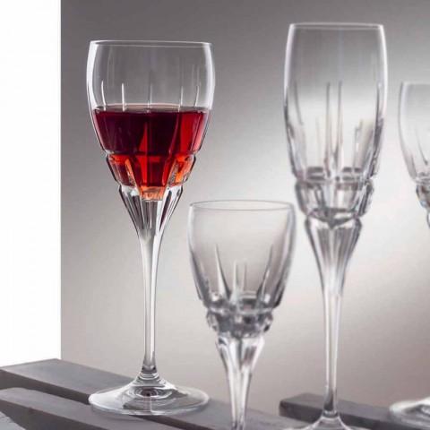 Calice per Vino Rosso in Cristallo Ecologico Tagliato a Mano 12 Pezzi - Fiucco