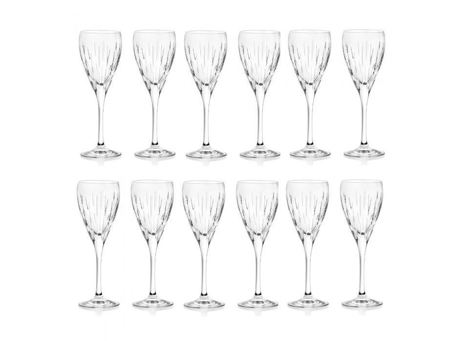 Calici da Vino in Eco Cristallo e Segmenti, Linea Lusso 12 Pz - Monnalisa