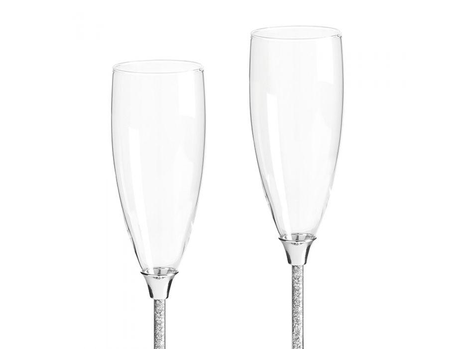 Calici Flute di Lusso in Vetro, Metallo Argentato e Cristalli 2 Pezzi - Armolia