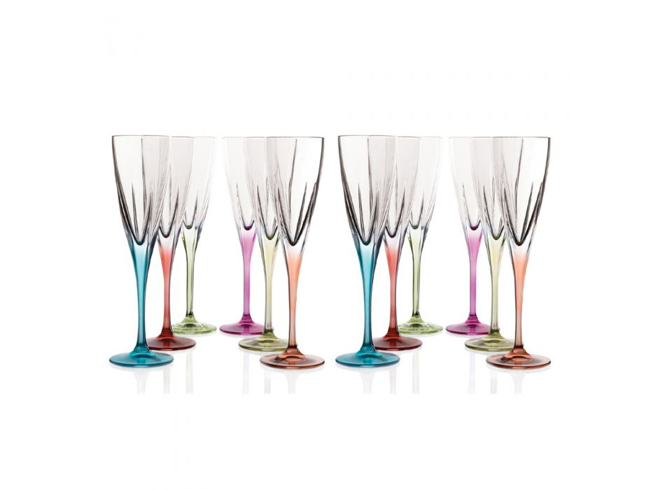 Calici Flute in Cristallo Ecologico Colorato o Trasparente 12 Pz - Amalgama