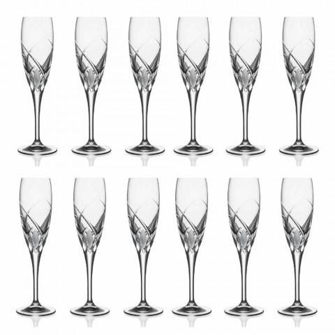 Calici Flute per Champagne Design in Cristallo Ecologico 12 Pezzi - Montecristo