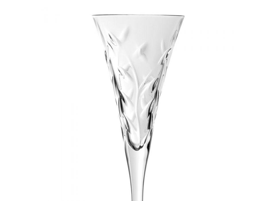 Calici Flute Vino in Cristallo Ecologico Decori a Foglia 12 Pz - Magnolio